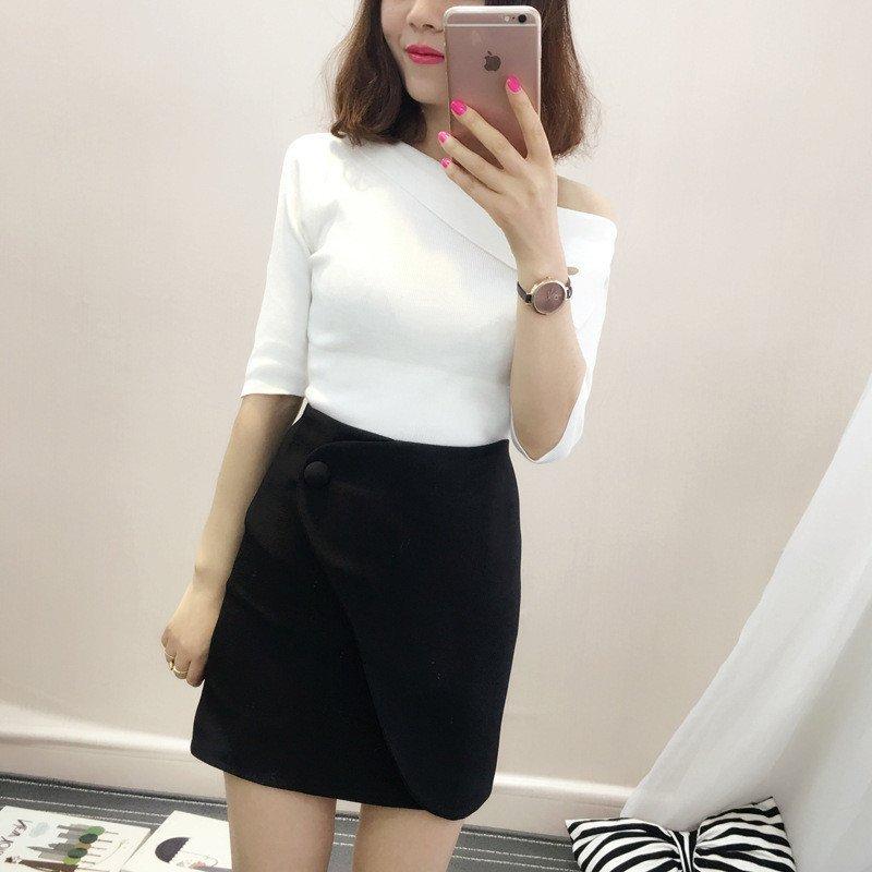 琳朵兒2016夏季新款中袖露肩設計針織上衣 半身包臀裙