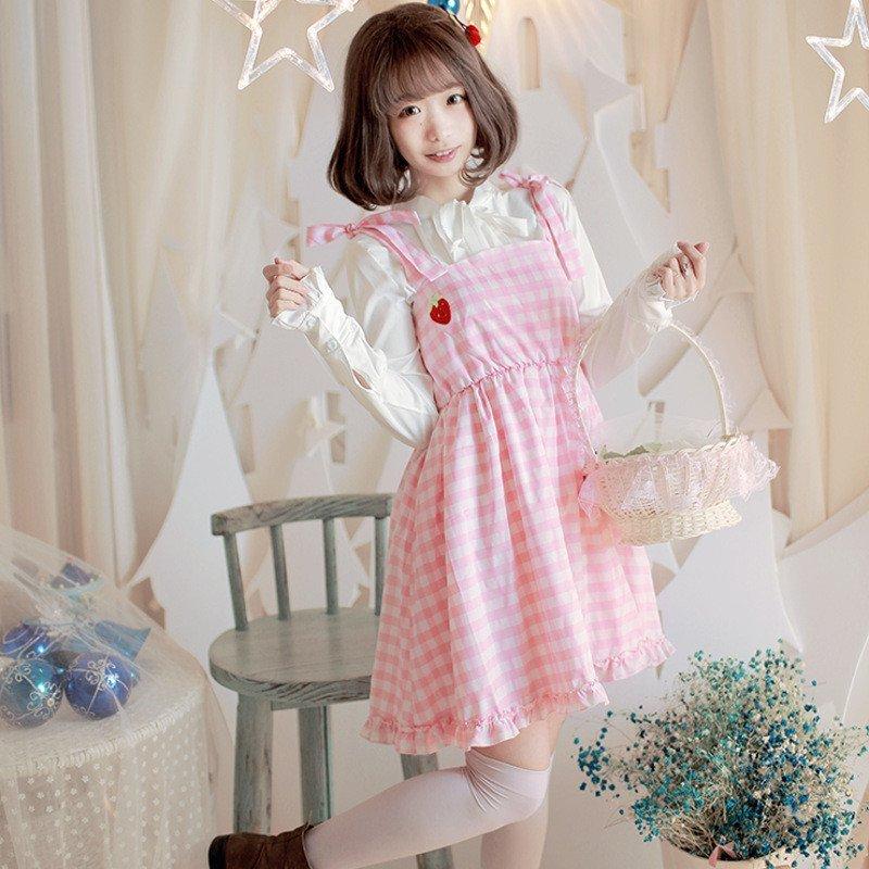 琳朵儿日系软妹子可爱草莓刺绣吊带裙