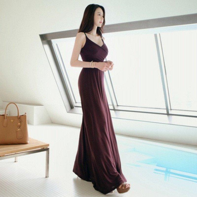 琳朵儿2016夏季夏季v领莫代尔棉吊带连衣裙后绑带针织长裙