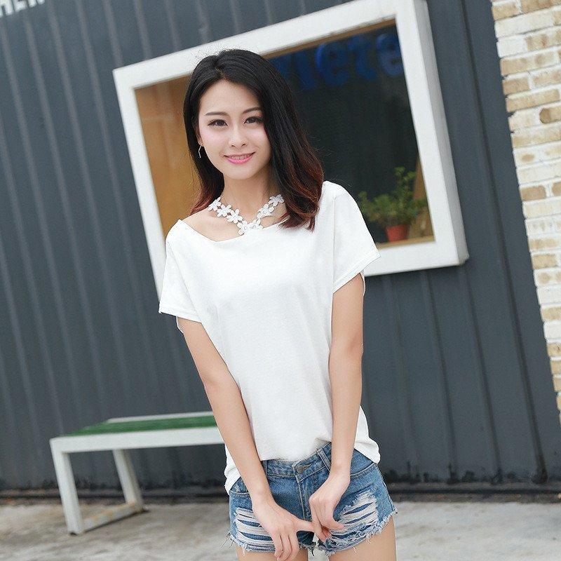琳朵儿2016夏装新款韩版圆领蕾丝花朵学生纯色短袖t