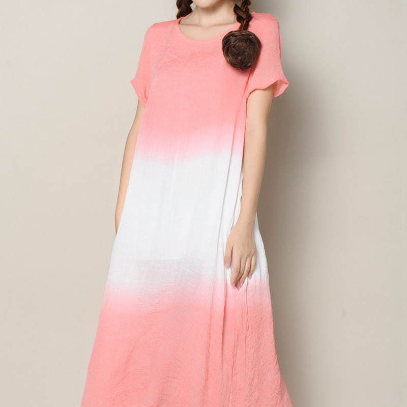 渐变色连衣裙长裙