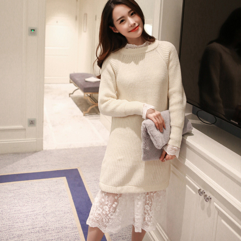 琳朵儿2016秋冬新款韩版蕾丝拼接针织两件套连衣裙打底毛衣裙
