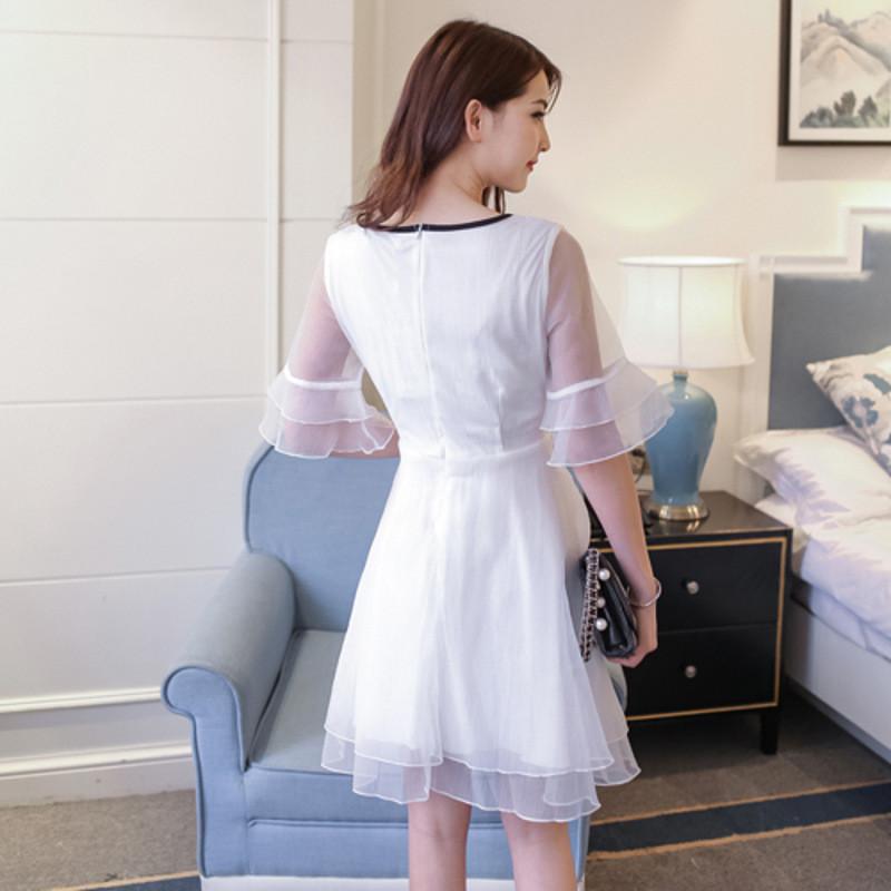 琳朵儿夏季新款女装白色甜美公主裙显瘦可爱蓬蓬夏天连衣裙