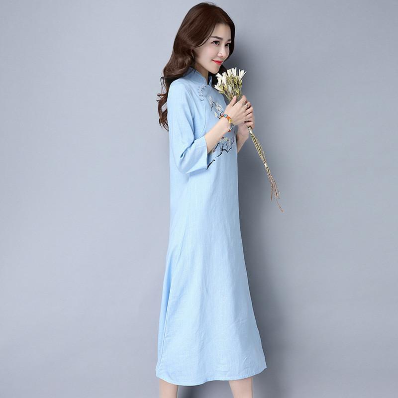琳朵儿中国风女装春夏民族风手绘棉麻连衣裙