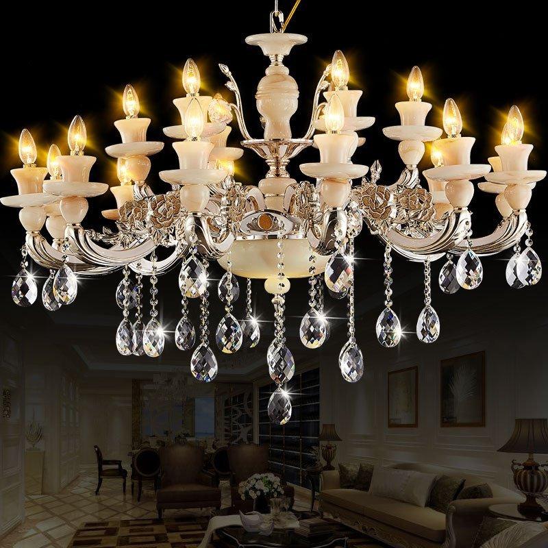 欧式吊灯 客厅led水晶吊灯玉石餐厅卧室蜡烛灯别墅酒店法式1007c