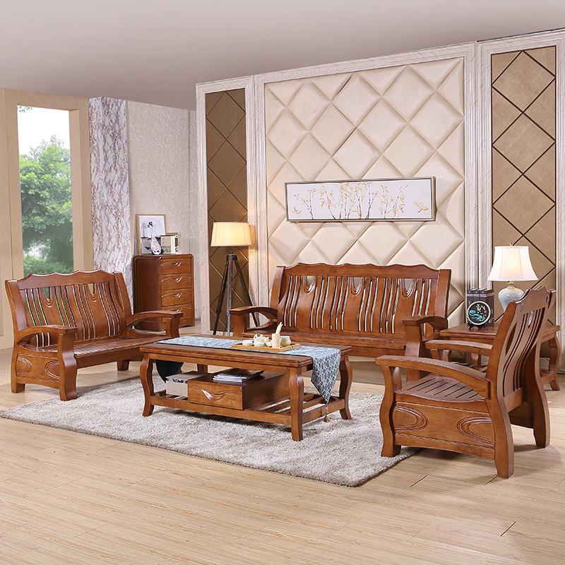 进口橡木 中式实木 u型木质沙发 布艺坐垫 大户型 客厅套房家具9803