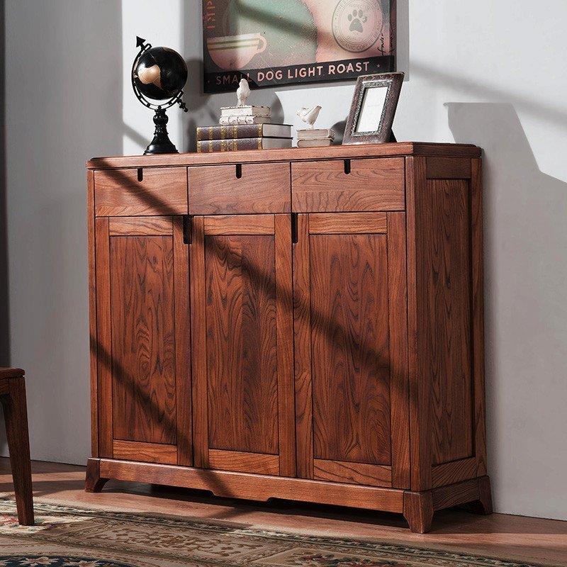 白蜡木家具日系简约1501鞋柜玄关门厅柜木蜡油环保