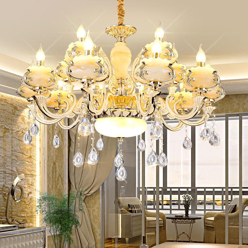 scenekid锌合金吊灯客厅灯欧式灯具卧室灯玉石水晶灯酒店饭厅灯餐厅灯
