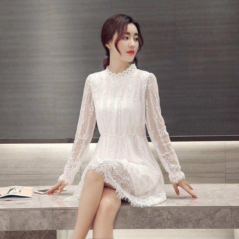 公主裙清新可爱花边立领连衣裙韩版修身显瘦蓬蓬裙文艺复古中长款裙子