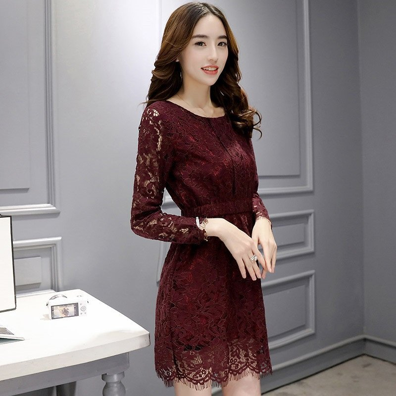 2016春季新款女士蕾丝连衣裙韩版修身显瘦长袖公主裙清新可爱中长款