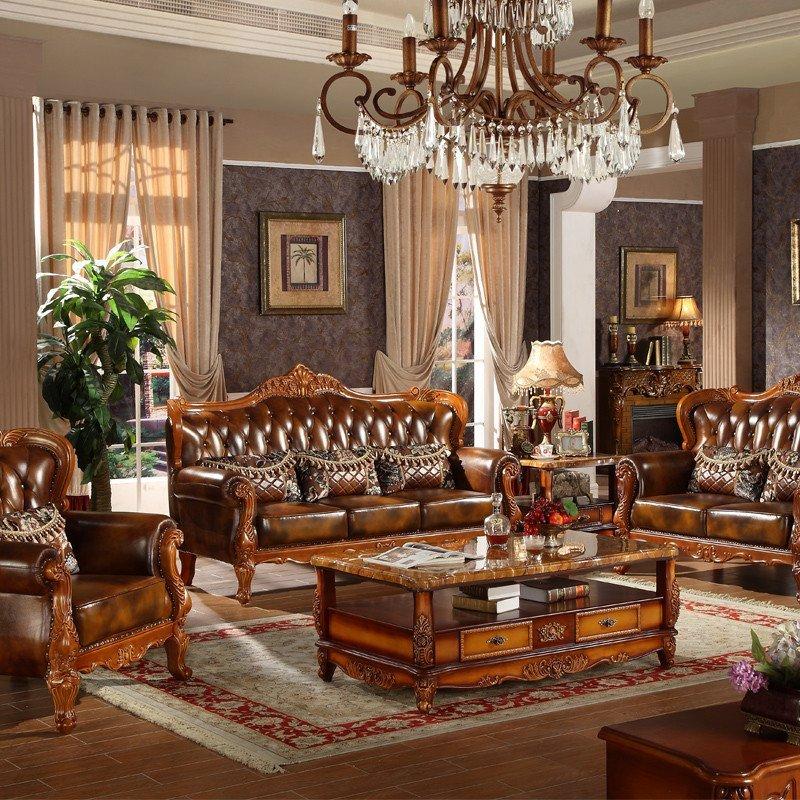 凯莉莎 美式真皮沙发 欧式大户型实木客厅组合沙发 高档古典沙发
