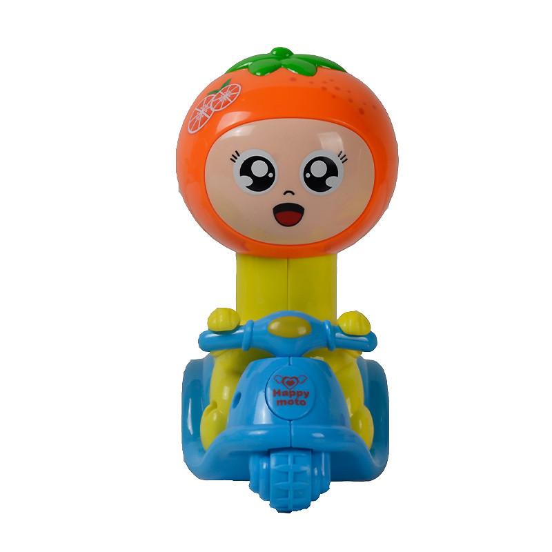 q版卡通动物造型迷你小摩托车惯性车儿童回力益智汽车玩具 摩托橙子mm