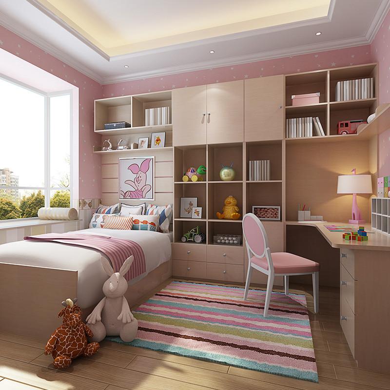 现代简约风格书柜书桌飘窗床头柜组合粉色公主房 全屋定制 测量设计金