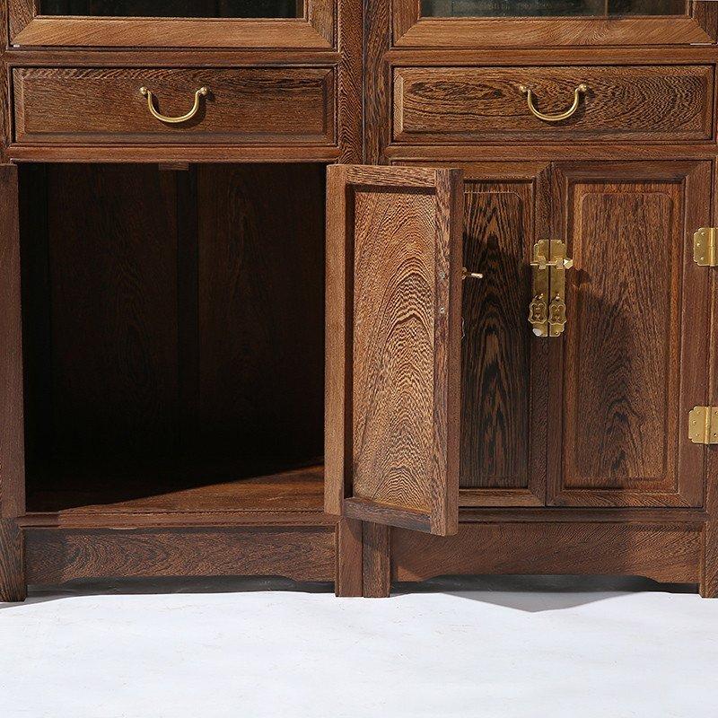 红木家具 鸡翅木客厅中式实木玻璃展示柜 原木陈列柜 玄关酒柜 cs022