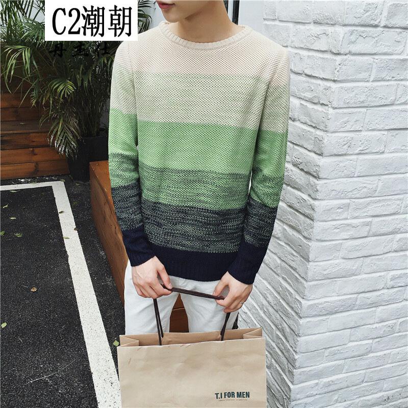 鲁宾克2016秋季新款渐变色毛衣男圆领韩版修身青少年学生针织衫套头线
