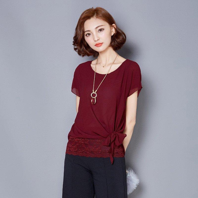 雪纺衫�z(���-�i#�(�_乐芙街 时尚新款女士蕾丝雪纺衫 新款潮圆领短袖蕾丝拼接雪纺上衣