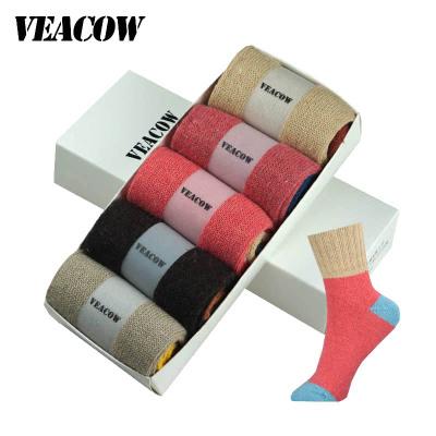 VEACOW 【5双装】 女士高罗口兔羊毛中筒袜 休闲时尚加厚保暖袜子