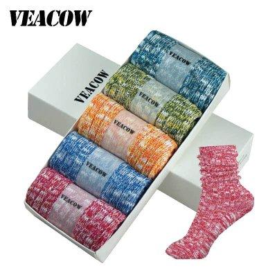 VEACOW 【5双装】原宿风新款礼盒装 森林系粗针堆堆袜花线袜子 点子纱全棉女袜 透气全棉粗线袜