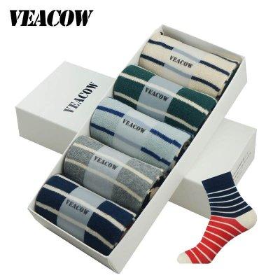 VEACOW 【5雙裝】禮盒裝 韓版男款彩色條紋中筒襪學院文藝風秋天潮男襪全棉襪子包郵 均碼