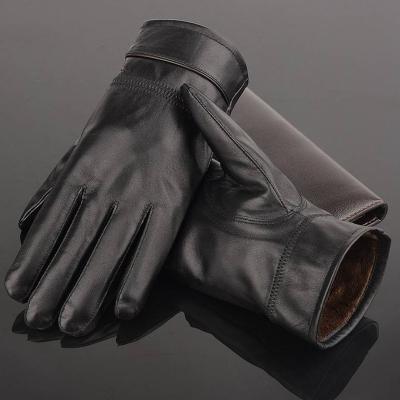 触屏加绒皮手套  男女户外保暖防水pu皮手套