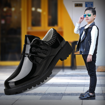 男童皮鞋英伦风黑色单鞋宝宝小学生童鞋中大童男孩儿童演出鞋英伦儿童皮鞋男黑色演出鞋中大童男童皮鞋学生演出童鞋休闲黑
