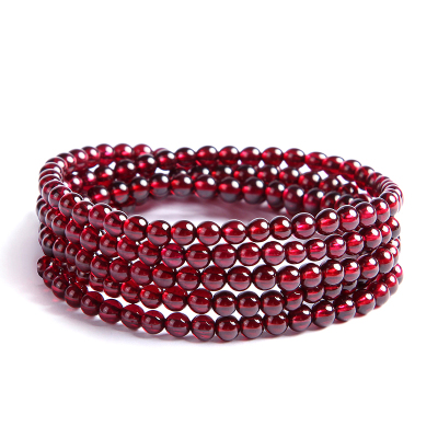 左传 高品质酒红色石榴石216颗约4mm 多圈手串手链 项链