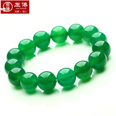 左传 绿玉髓圆珠手串 单圈手链 约12mm 16颗