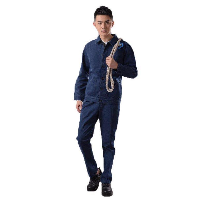 秋季厚型牛仔工装套装 蓝 劳保工作服保暖耐磨时尚潮流