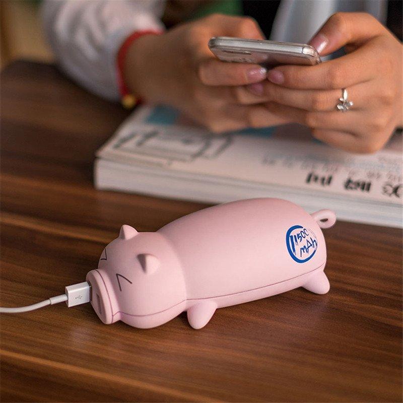 猪娃礼物萌猪创意移动电源power piggy充电宝11500毫安可带上飞机黑猪