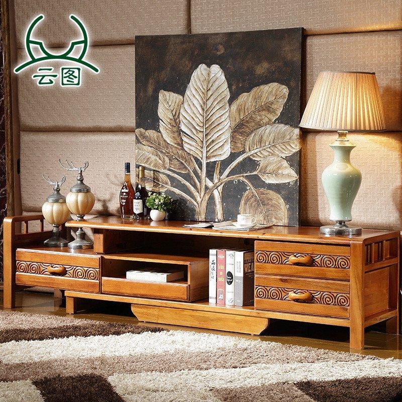 云图家具 香樟木 中式雕花电视柜d09