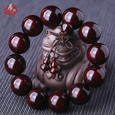 居典 正宗印度小葉紫檀金星款手串 高密順紋佛珠天然木飾男女通用款 民族風葫蘆配飾 手鏈木質