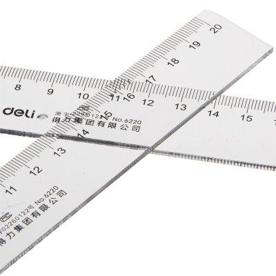 得力deli6220塑料直尺20cm小学生文具绘图制图工具透明直尺长尺工程测量塑料尺