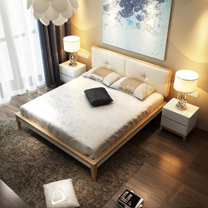 实木床北欧简约双人床 1.8米现代原木现代家具卧室家具