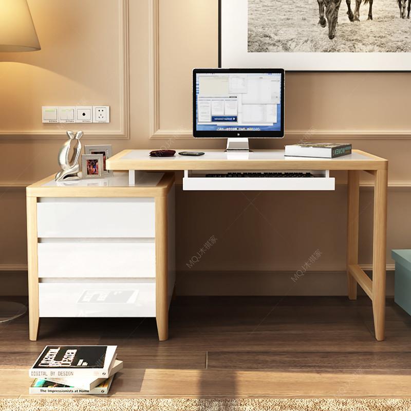 现代北欧电脑桌 实木书桌组合 办公烤漆书房写字台