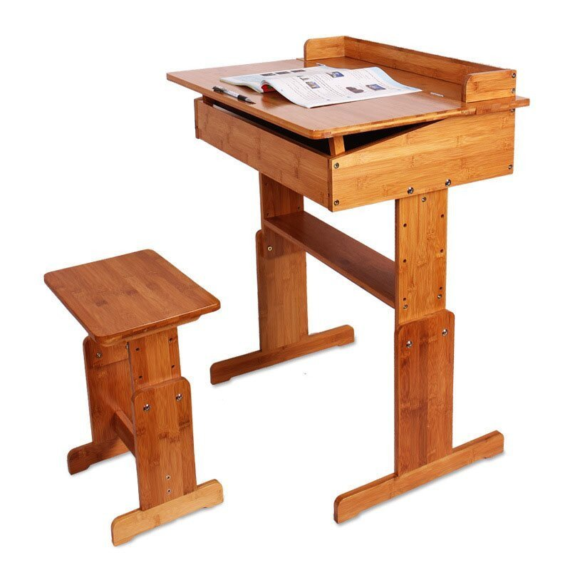 户外运动竹制学生桌椅 学习桌椅套装 可升降课桌椅中小学生书桌 楠竹