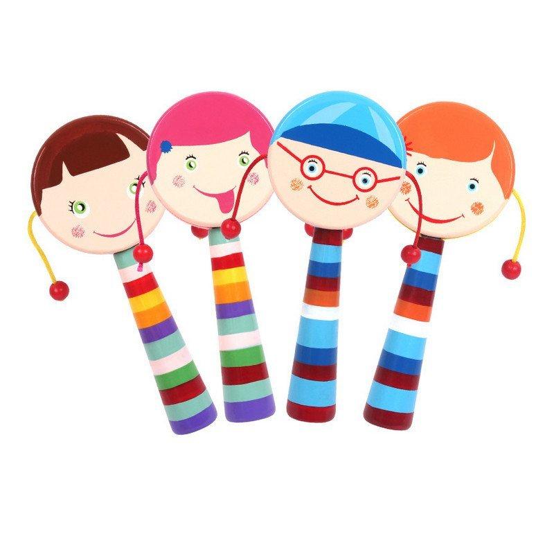 可爱卡通笑脸木制双面拨浪鼓 婴幼儿宝宝发声玩具玫红色0.08mz67881