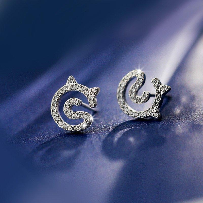 s925纯银猫咪耳钉女款可爱动物耳环简约耳饰防过敏装饰品