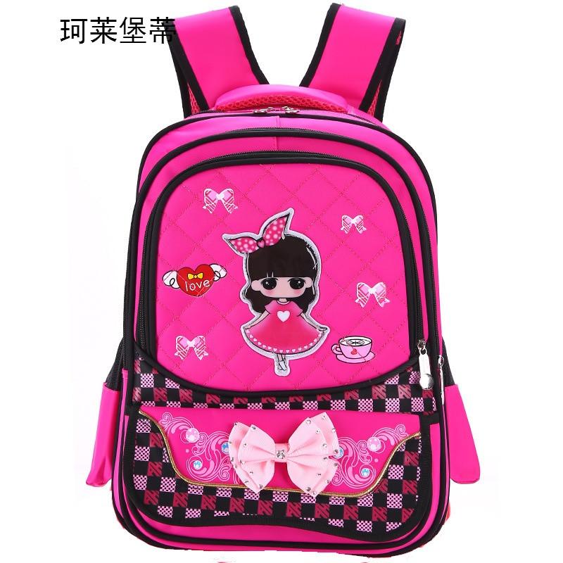 珂莱堡蒂韩版小学生书包 女生儿童书包卡通可爱公主娃娃双肩背包bqy