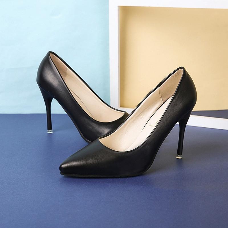 绅洛潮牌2017新款黑色高跟鞋女尖头浅口细跟5厘米工作