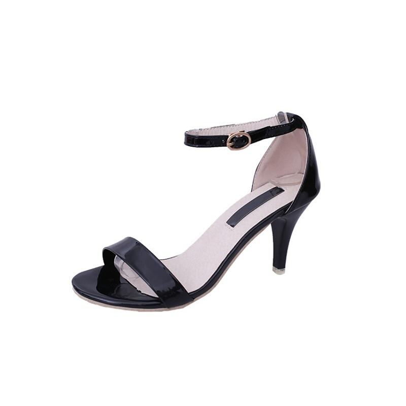 绅洛潮牌英伦性感黑色中跟小码33女鞋细跟细带百搭高跟一字扣凉鞋夏季