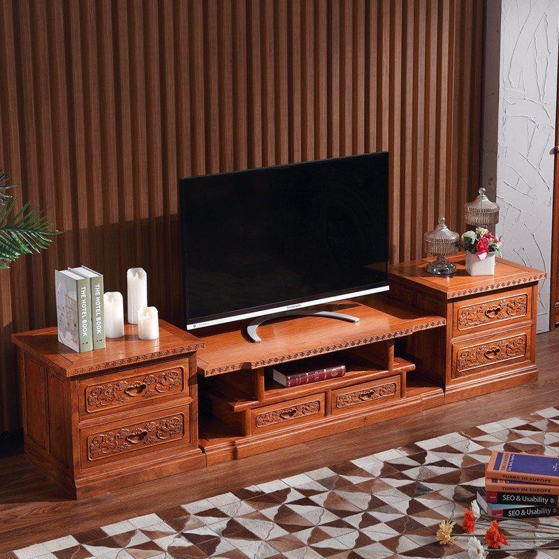 粤顺 红木电视柜客厅实木家具 明清古典仿古花梨木电视柜 组合g50