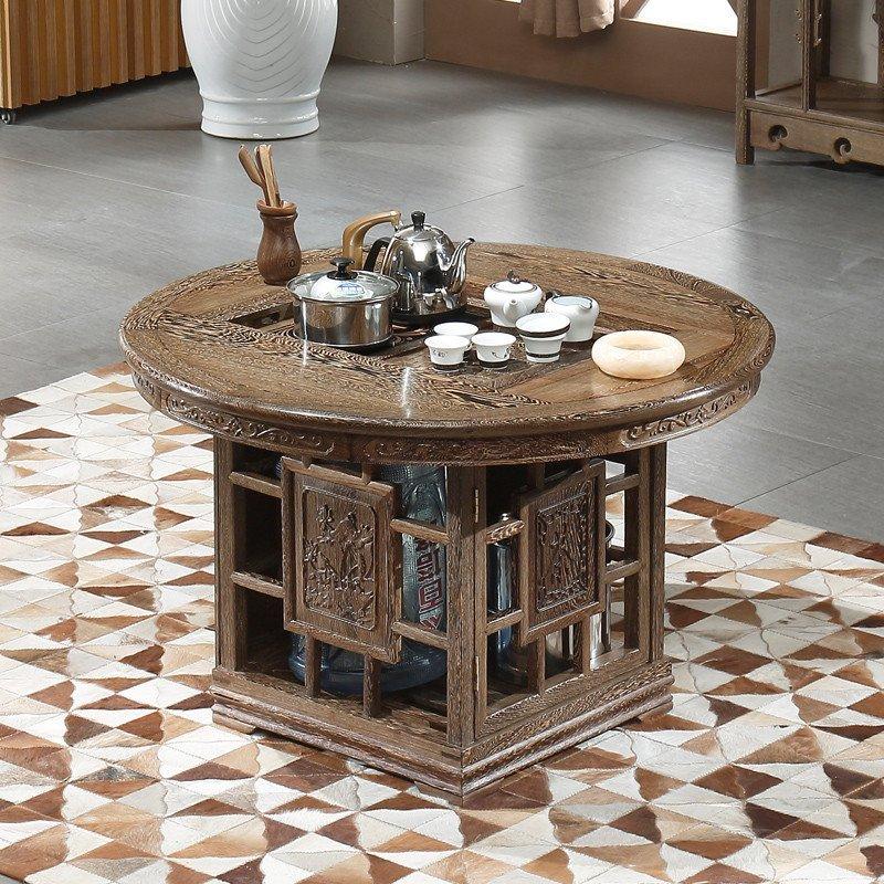 粤顺家具 实木茶几小圆桌 红木功夫茶桌椅组合 鸡翅木客厅餐桌335
