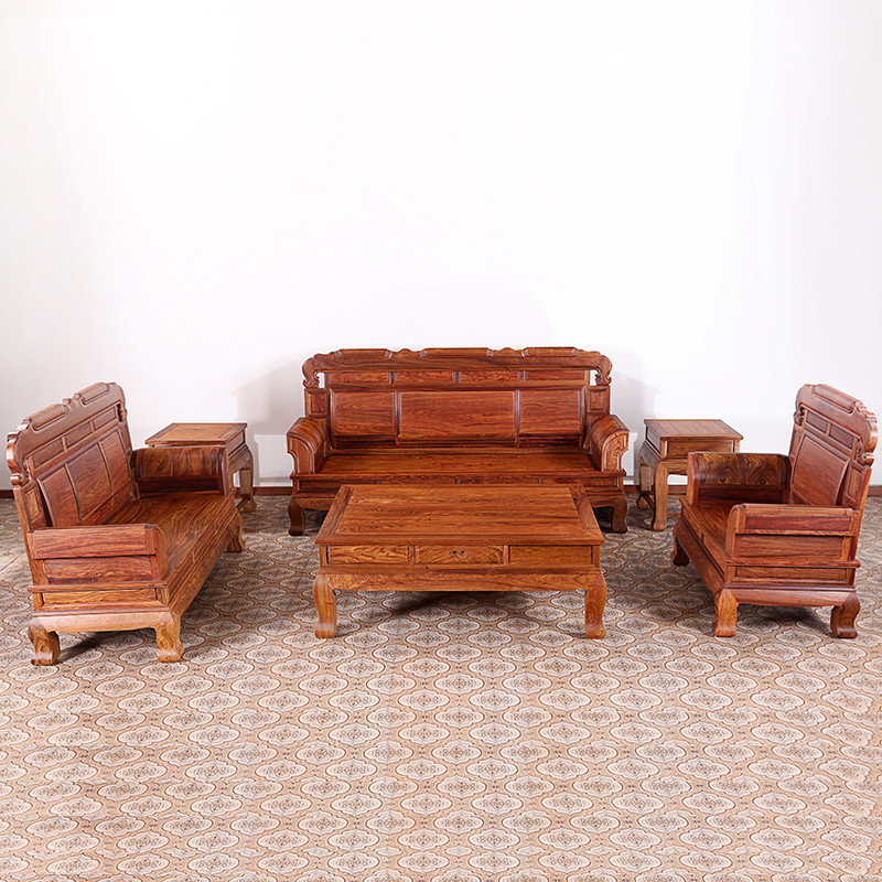 粤顺红木沙发 实木别墅沙发六件套 黄花梨素面国宝沙发组合 新中式
