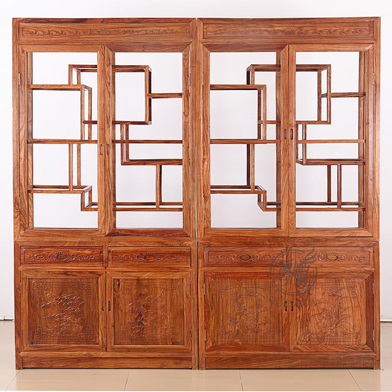 粤顺红木书柜 实木博古架 花梨木酒柜玻璃柜 新中式家具展柜博古架