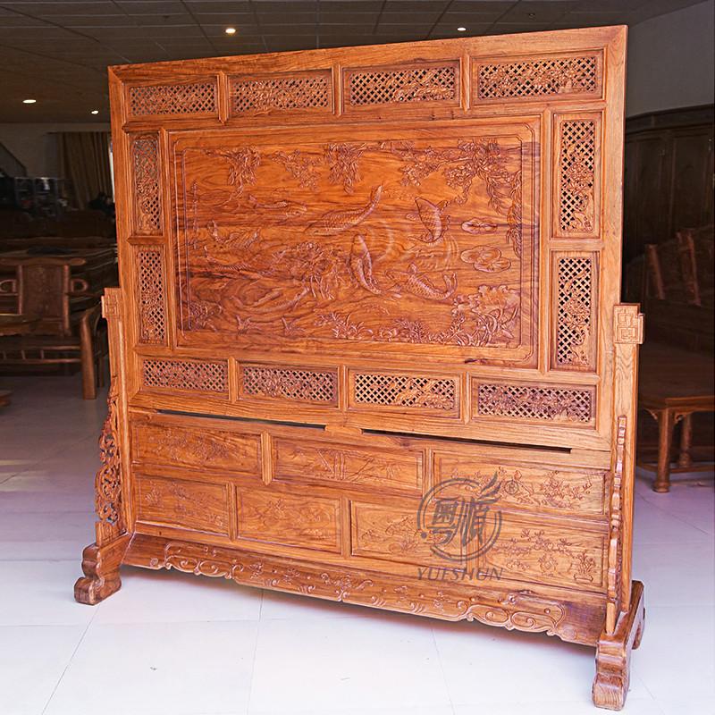 粤顺红木屏风 花梨木隔断 花梨木玄关 中式古典客厅家具原木色间厅柜