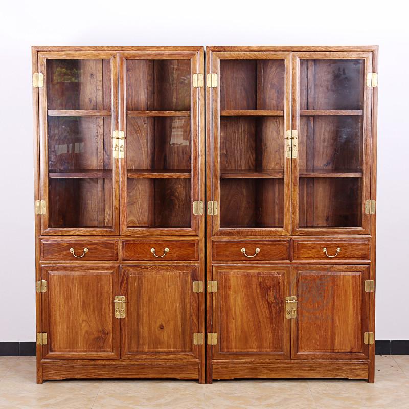 粤顺红木书柜 实木书架玻璃柜 花梨木博古柜 新中式书房家具展示柜g32
