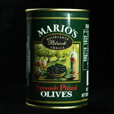西班牙進口瑪利歐無核黑橄欖/黑水欖410G 披薩配料 烘焙 意面配料