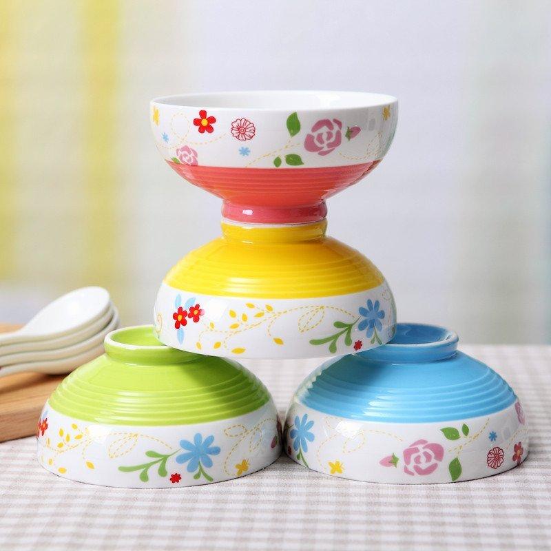 八友 儿童骨瓷餐具陶瓷器碗套装 5英寸可爱创意高脚米