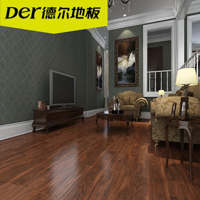 德尔地板无醛芯环保地板强化复合木地板 地暖dn7003 佩特拉黑胡桃