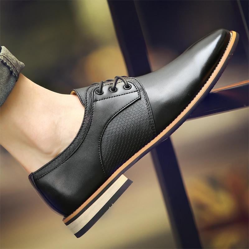 翼原秋冬新款男士商务鞋时尚尖头皮鞋男鞋蛇皮纹潮流婚鞋增高英伦休闲